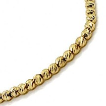 "18K YELLOW GOLD CHAIN FINELY WORKED SPHERES 2 MM DIAMOND CUT BALLS, 16"", 40 CM image 2"