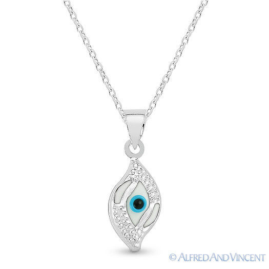 Evil Eye Glass Bead Greek Turkish Nazar Hamsa Pendant Sterling Silver Necklace image 12
