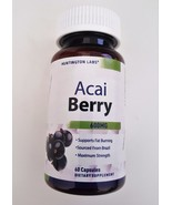 Acai Berry Cleanse 600mg Supplement Supports Weight Loss Fat Loss 60 Ser... - $14.85