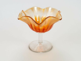 "Fenton Stippled Rays Marigold Carnival Glass Compote, Antique Clear Stem 5"" - $14.70"