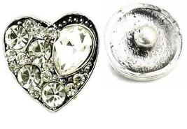 USA SELLER Interchangeable Button Snap Jewelry Teardrop Clear Heart 18mm... - $5.92