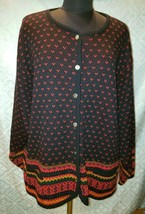 Tally Ho Cardigan Sweater Vtg 3X Plus Knit Button Front Womens - $29.85