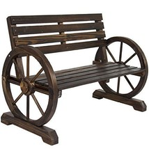 Outdoor Bench Patio Garden Furniture Decor Chair Seat Wooden Brown Rusti... - $107.00