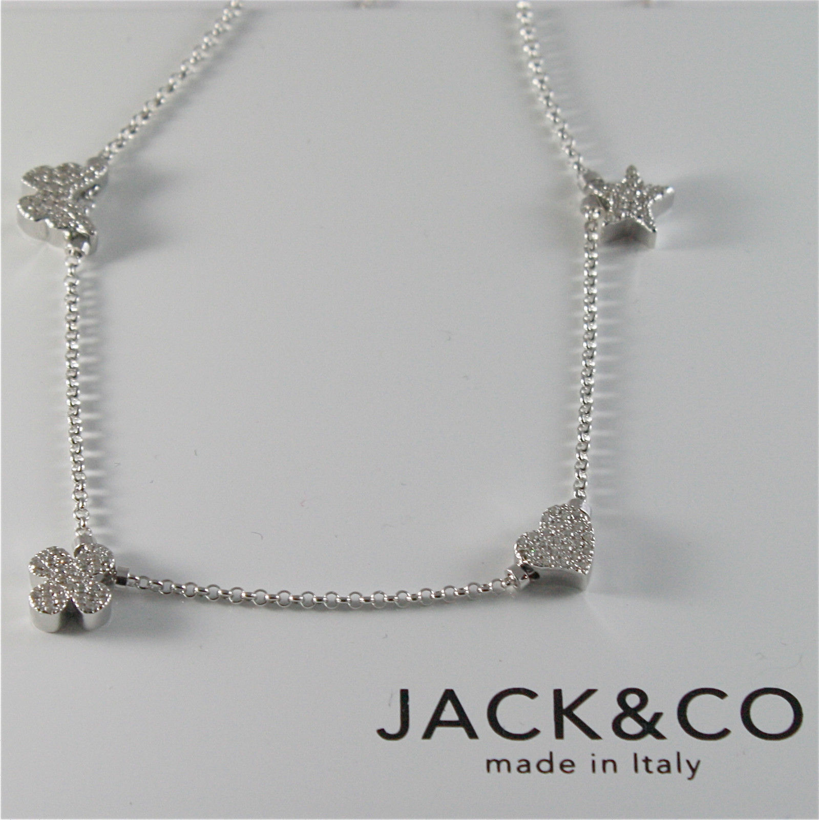 925 STERLING SILVER NECKLACE JACK&CO WITH FOUR-LEAF CLOVER HEART STAR AND