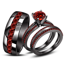 Men's Women's Trio Ring Set Black Gold Finish 925 Silver Red Garnet & Free Gift - $181.99