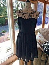 Forever 21 Black Dress Cocktail Flair Heart Length 34 Chest 34 Size Medium - $15.99