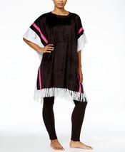 DKNY Fleece Colorblock Lounge Poncho Black White Pink Size S/M - $29.69