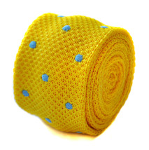 bright yellow & blue polka spot skinny knitted tie by Frederick Thomas FT1882