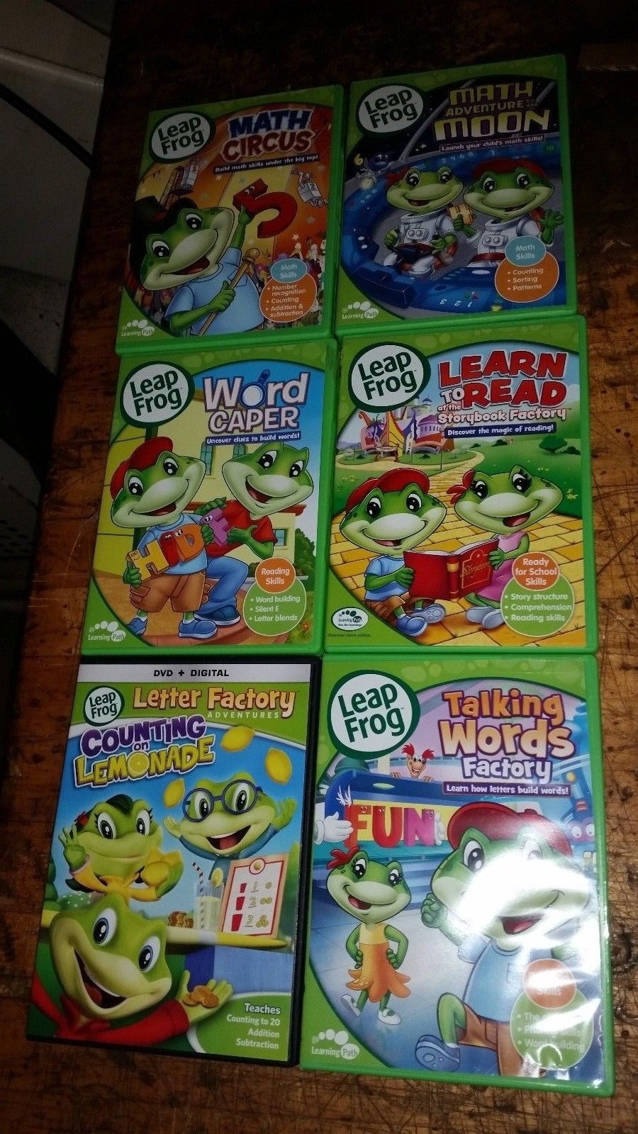 BIG DVD LOT leap frog math circus,moon word caper learn to read talking words et