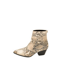 Qupid MYSTIQUE 01 Beige / Brown Snake Women's Pointy Toe Ankle Boots - $38.95