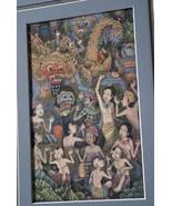 ORIGINAL DETAILED FRAMED MINIATURE TRADITIONAL BALINESE UBUD ART INK PAI... - $170.99