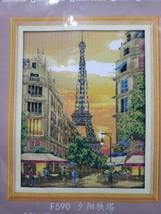 Joy Sunday 14ct Counted Cross-Stitch Kit 2584 Eiffel Tower Sunset - $19.01