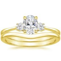 14K Yellow Gold Plated Oval & Round Cut D/VVS1 Diamond Three-stone Brida... - $105.45