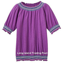 NEW Girls Plus Size Purple Peasant Top Shirt Blouse Embroidered Smocking... - £8.13 GBP