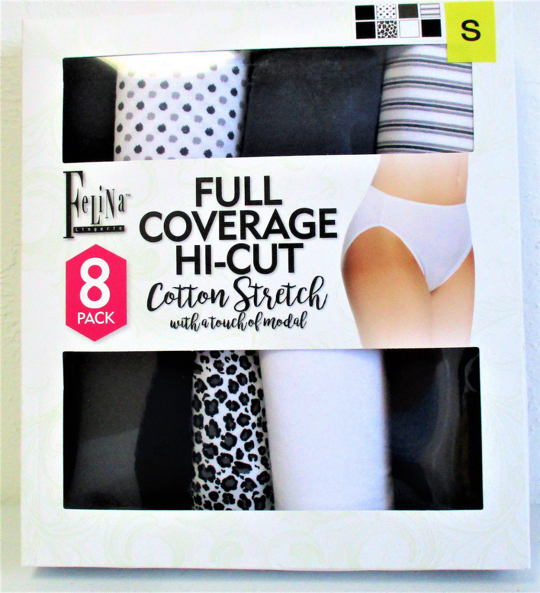 09559caa1c66 Felina Women's Full Coverage Hi-Cut Cotton Stretch 8-Pack Size: Small