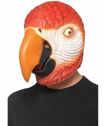 Parrot Latex Mask Red Overhead, Party Animals Fancy Dress, One Size #CA - $25.46