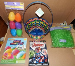 "Easter Mix Lot 5 Items Avengers Tattoos 9"" Basket Plastic Grass & Egg Dy... - $12.49"