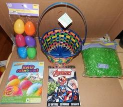 "Easter Mix Lot 5 Items Avengers Tattoos 9"" Basket Plastic Grass & Egg Dye 164C - $12.49"