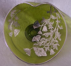 Viking Green Glass Sterling Silver Poppies Pedestal Candy Dish Bowl Silv... - $44.98