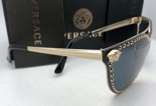 Neu Versace Sonnenbrille Ve 2177 1252/87 140 Bleichgold Schild mit Nieten +