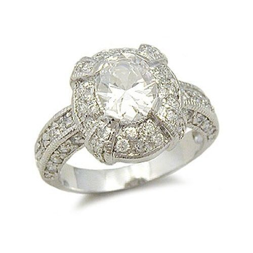 Sterling Silver Oval Cut Cubic Zirconia Engagement Ring -SIZE 8 (last one)