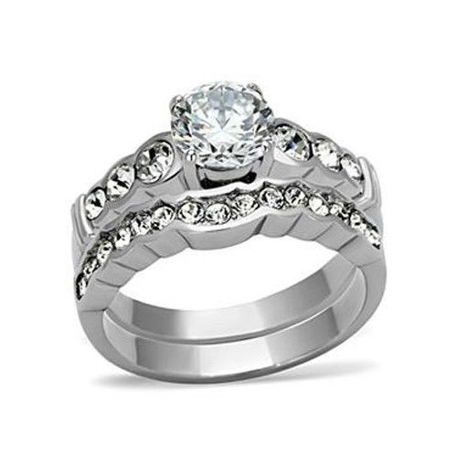 Never Fade Stainless Steel CZ Engagement & Wedding Ring Set Sizes - 5 to 10