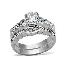 Never Fade Stainless Steel CZ Engagement & Wedding Ring Set Sizes - 5 to 10 image 1