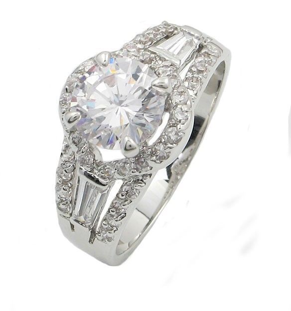 Round and Baguette Cut Cubic Zirconia Engagement Ring - SIZE 5  - 10