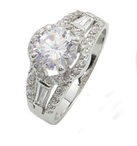 Round and Baguette Cut Cubic Zirconia Engagement Ring - SIZE 5  - 10 image 1