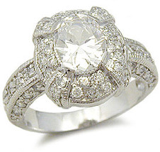 Sterling Silver Oval Cut Cubic Zirconia Engagement Ring -SIZE 8 (last one) image 2