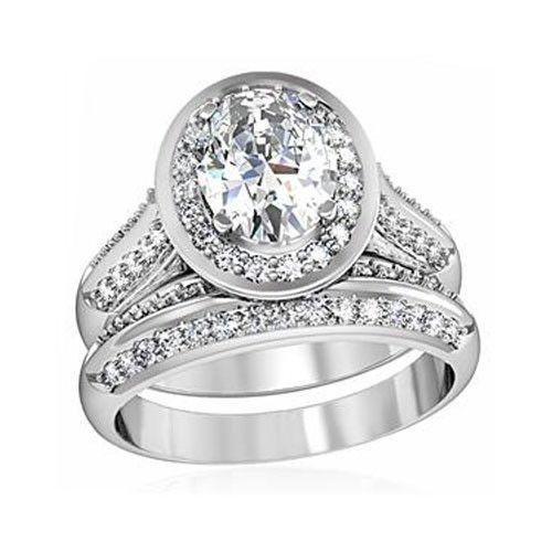 4 Prong Oval Shape CZ Engagement & Wedding Ring Set - SIZE 5 - 10