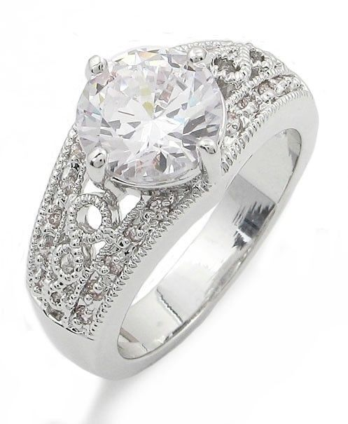 3.50 Carat Round Solitaire with Filigree Band CZ Engagement Ring - SIZE 5 to 10