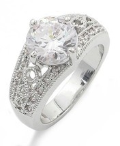 3.50 Carat Round Solitaire with Filigree Band CZ Engagement Ring - SIZE 5 to 10 image 1