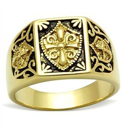 Gold Tone Antique Finish Religious Cross Men's Ring - SIZE 8 TO 13