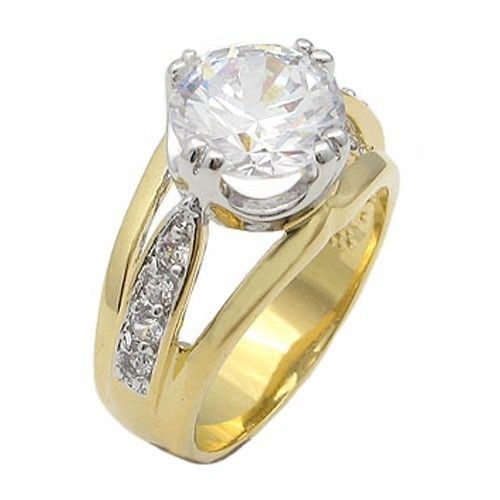 Two Tone Cubic Zirconia Engagemet Ring with Side Stones - SIZE 7, 8, 9