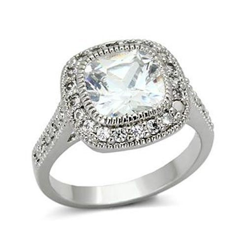 Silver Tone Cushion Cut Cubic Zirconia Engagement Ring - SIZE 5-9 Limited offer