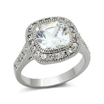 Silver Tone Cushion Cut Cubic Zirconia Engagement Ring - SIZE 5-9 Limited offer image 1