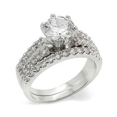 6 Prong & Pave Setting Cubic Zirconia Engagement Wedding Ring Set - SIZE 5 - 10