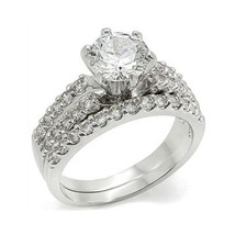 6 Prong & Pave Setting Cubic Zirconia Engagement Wedding Ring Set - SIZE 5 - 10 image 1