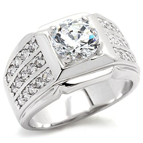 Silver Tone Solitaire Cubic Zirconia Men's Ring - SIZE 8 - 14