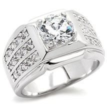 Silver Tone Solitaire Cubic Zirconia Men's Ring - SIZE 8 - 14 image 1