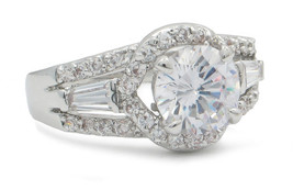 Round and Baguette Cut Cubic Zirconia Engagement Ring - SIZE 5  - 10 image 2