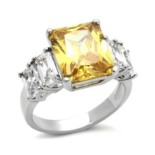Silver Tone Five Stone Yellow & Clear Cubic Zirconia Ring - SIZE 5 - 10