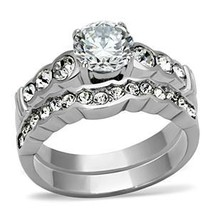 Never Fade Stainless Steel CZ Engagement & Wedding Ring Set Sizes - 5 to 10 image 2