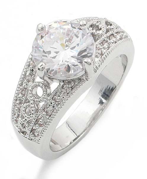 3.50 Carat Round Solitaire with Filigree Band CZ Engagement Ring - SIZE 5 to 10 image 2