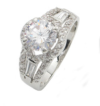 Round and Baguette Cut Cubic Zirconia Engagement Ring - SIZE 5  - 10 image 3