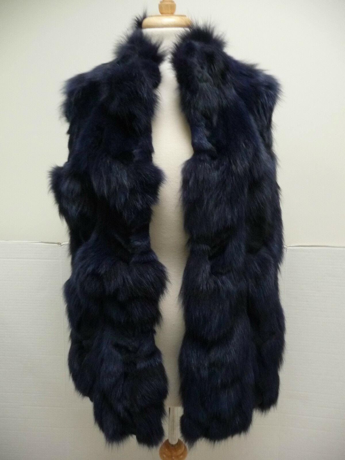 Jocelyn Bicolor Black Navy Roadie Fox Fur Vest New $1.1 image 9