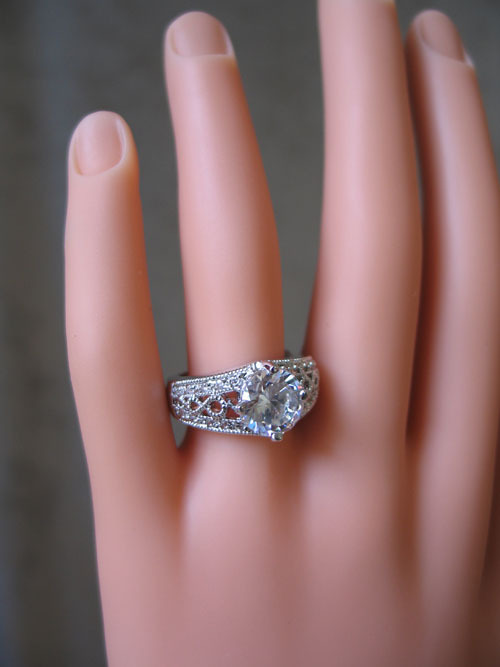 3.50 Carat Round Solitaire with Filigree Band CZ Engagement Ring - SIZE 5 to 10 image 3