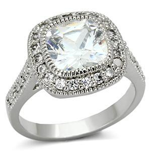 Silver Tone Cushion Cut Cubic Zirconia Engagement Ring - SIZE 5-9 Limited offer image 2