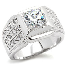 Silver Tone Solitaire Cubic Zirconia Men's Ring - SIZE 8 - 14 image 2